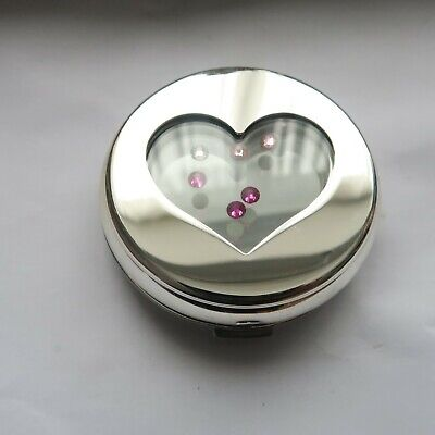 £13.50 • Buy Swarovski Heart Floating Pink Crystals Mirror Compact New