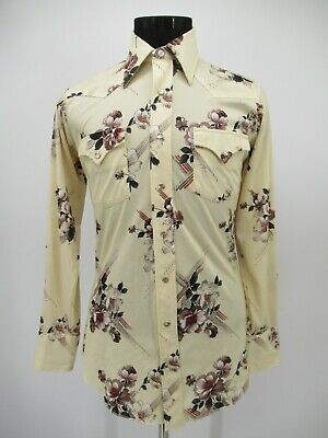 £10.99 • Buy P5289 VTG 70's H Bar C Men's Western Pearl Snap Ranch Rodeo Shirt Made In USA 33