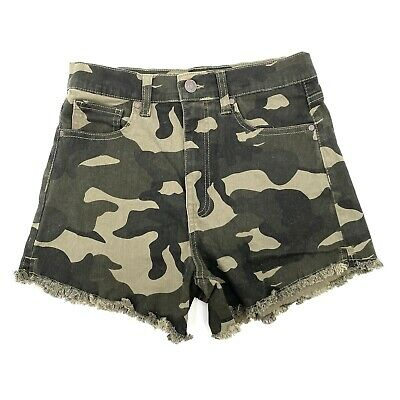 £10.97 • Buy Celebrity Pink Juniors 7 / 28 The Deb High Waist Green Camouflage Jean Shorts