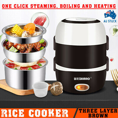 AU28.89 • Buy AU 3 Layer Portable Electric Lunch Box Rice Cooker Stainless Steamer Pot Case