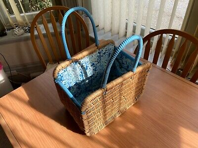 £39.99 • Buy Vintage 1970's Wicker Shopping Basket With Blue Detailing And Liner