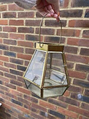 £15 • Buy 6 Gold And Glass Lanterns Candle Tealight Holders Wedding Decor