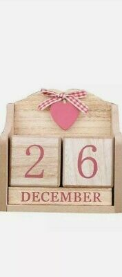 £8.99 • Buy Wooden Perpetual Block Calendar With Red Heart & Bow