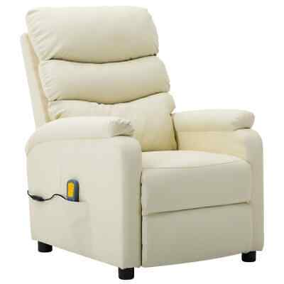 AU329.41 • Buy Massage Reclining Chair Cream Faux Leather