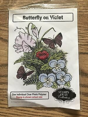 £1.99 • Buy Butterfly On Violet Clear Craft Stamp