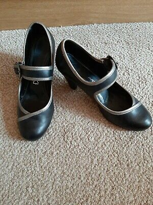 £7.50 • Buy Black Leather Sole Reviver Shoes With Silver Trim By Next UK Size 5