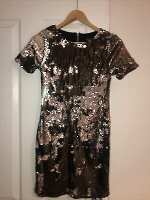 £10 • Buy Topshop Brown And Silver Embellished Sequin Dress Size 6