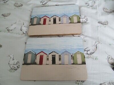 £6 • Buy Pretty Summery Beach Hut Corked Back Placemats X 6, Vgc