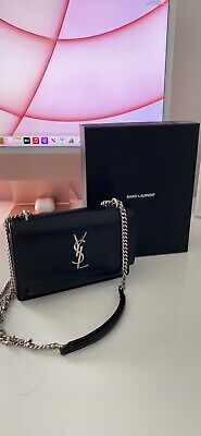 AU2250 • Buy YSL Sunset Mini Wallet On Chain - Black With Silver Hardware - Authentic