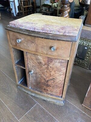 £60 • Buy Antique French Art Deco Marble Top Bedside Table, Lamp Table
