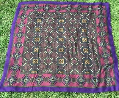 £9 • Buy TIE RACK Made In Italy Purple Burgundy Square Shawl/Scarf/Wrap 46in X 46in