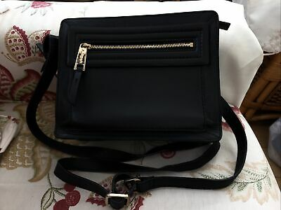 £13.99 • Buy M&S Autograph Cross Body Bag, Black Leather With Gold Zip And Strap Buckles