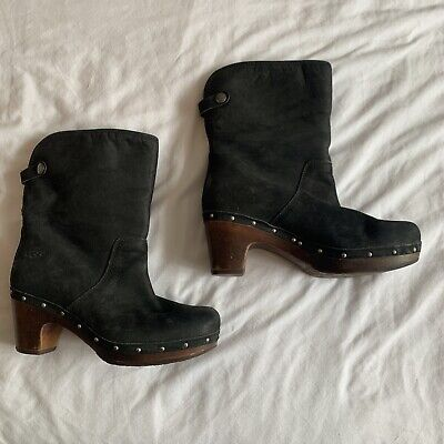 £45.99 • Buy Size 5.5 - UGG Leather Boots Black With Brown Clog Style Studded Heel Cream Fur