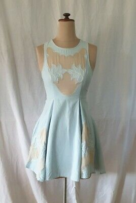 AU13.84 • Buy ALICE MCCALL  Blue Embroidered Womens Dress 8 Fit N Flare