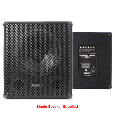 £170 • Buy SMWBA15 Bi-Amp Subwoofer Active Powered DJ Disco PA 15  Sub 600W Passive Outs