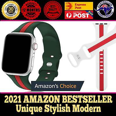 AU12.95 • Buy For Apple Watch Series 6 5 4 3 Silicone Designer Strap Band Sport 38/40/42/44mm