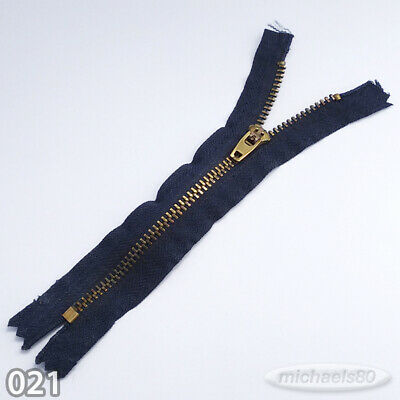 £0.99 • Buy Closed End Golden (brass?) Metal Zip For Jeans Trousers Etc Navy Tape 14cm 5.5in