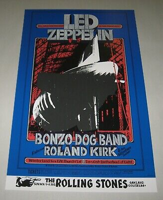 $75 • Buy LED ZEPPELIN Concert Poster Limited 2nd Printing Bill Graham 1969 ROLLING STONES