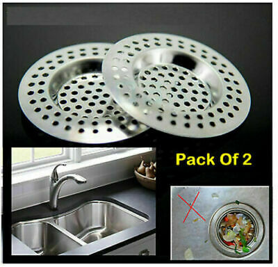 £1.99 • Buy 2x Stainless Steel Sink Basin Bath Plug Hole Cover Strainer Drainer Hair Trap UK