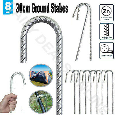 £10.35 • Buy  Galvanised Ground Stakes Heavy Duty Long Steel Camping Tent Marquee Pegs Hooks