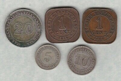 £14.50 • Buy Five Straits Settlements Coins 1910 To 1926 In Fair Or Better Condition