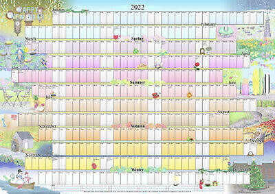 £9.49 • Buy Illustrated Wall Planner 2021-2022 Academic (A2 Size) Calendar Poster Organiser
