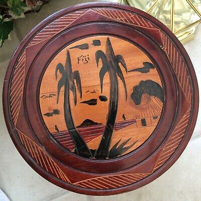 £14.99 • Buy Cute Little Wooden Round Table From Fiji With Palm Tree Design