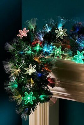£59.99 • Buy 6ft Fibre Optic COLOUR CHANGING Garland Christmas Decoration With Snowflakes