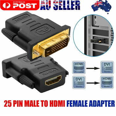 AU7.88 • Buy DVI D Male Link To HDMI Female Converter Socket Cable Adapter Connector Plug AUS