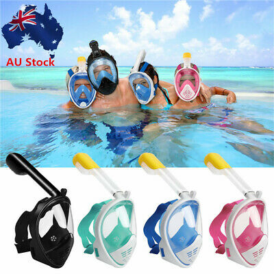 AU27.28 • Buy Full Face Mask Swimming Dry Diving Goggles Snorkel Scuba Snorkeling For GoPro AU