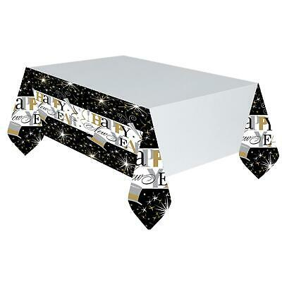£6.37 • Buy 3 X Happy New Years Eve Party Plastic Table Cover Decoration Gold Black 2020 NYE