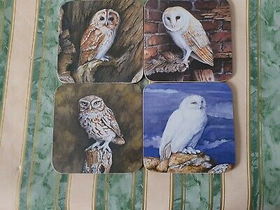 £5.99 • Buy Owl Drinks Coasters X 4; Each With A Different Owl; Delightful Artwork FREE P&P!