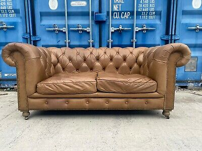 £699 • Buy Halo Kensington Whisky Leather 2 Seater Chesterfield Sofa