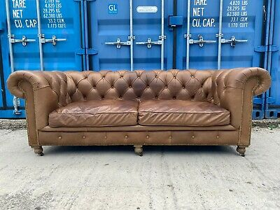 £899 • Buy Halo Kensington Whisky Leather 3 Seater Chesterfield Sofa