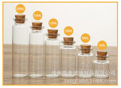 £3.77 • Buy 5/10Pcs Mini Glass Bottles With Cork Stopper Small Jars Wedding Vials Containers