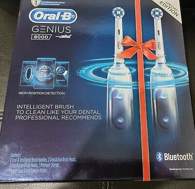 AU215.99 • Buy Oral B Genius 8000 Electric Toothbrush 2 Handle Pack With 4 Heads, Case, Holder