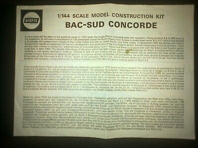 £2 • Buy Airfix Bac/sud Concorde 1/144 Instruction Leaflet Early Issue