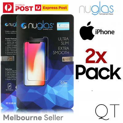 AU5.99 • Buy GENUINE Nuglas For Apple IPhone 12 11 X 8 SE 2x Tempered Glass Screen Protector