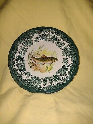 £7.99 • Buy RARE GREEN Royal Worcester Palissy Game Series Fish (Trout?) Plate 6 . VGC
