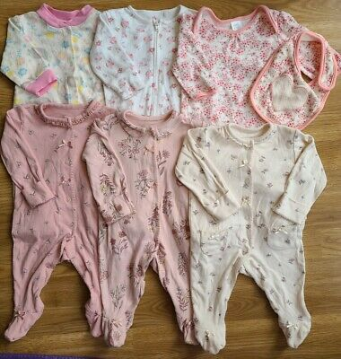 £4.20 • Buy Baby Girl Sleepsuit Bundle 0-3 Months Mixed Brands Matching Bib Floral (513)