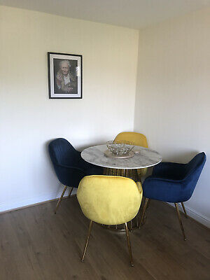 £550 • Buy Marble And Gold Dining Table With 4 Chairs OPEN TO OFFERS