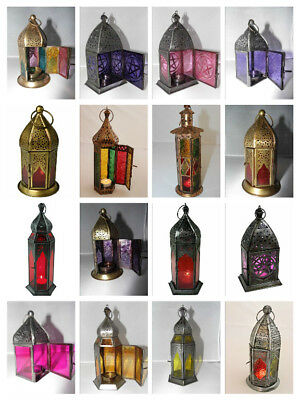 £10.25 • Buy Moroccan Glass Hand Made Lanterns T Light Candle Holder Hanging