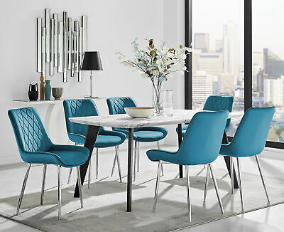 £219.99 • Buy Andria Black Leg Marble Effect Dining Table And 6 Pesaro Silver Leg Chairs