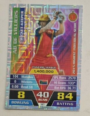 AU7.50 • Buy AB DeVilliers Foil Cricket IPL Attax Cricket Trade Card Not Signed