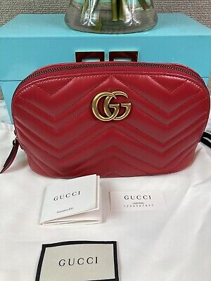 AU712.34 • Buy NWOT Brand New Authentic Gucci GG Matelasse Marmont Red Leather Cosmetic Case