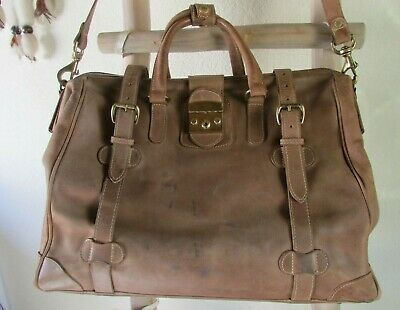 £56.44 • Buy Vintage Mulholland Brothers Distressed Brown Leather Doctor Style Duffle Bag Usa