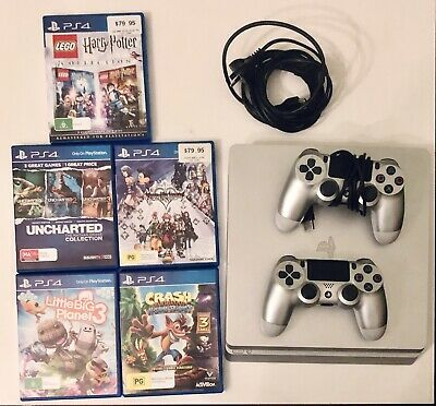 AU450 • Buy PS4 Slim Silver, 2 Matching Wireless Controllers And 5 Games