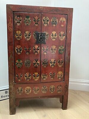 AU650 • Buy Vintage Antique Decorative Red Chinese Cabinet Armoire Cupboard