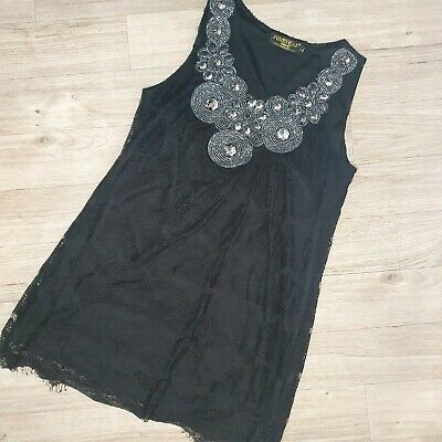 £6.50 • Buy Pussycat London Lace Tunic Top Size L 12-14 Embellishments Beading. Party Top