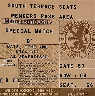 £1 • Buy Middlesbrough V Manchester United 04.03.92 League Cup Semi Final Ticket Stub